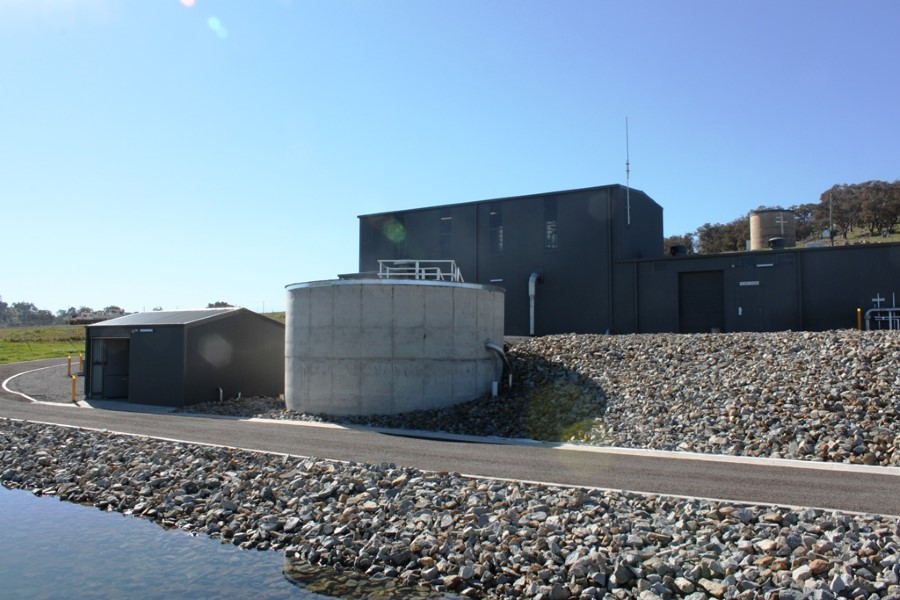 Gunning WTP - Building Exterior, Clearwater Tank and Pump Station