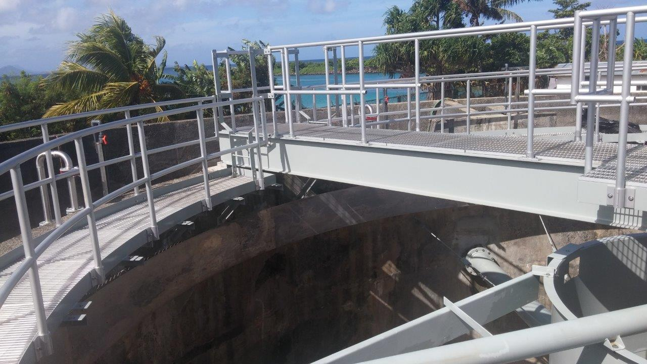 Weno WWTP Upgrade - Newly Installed Clarifier Gantry and Access Way