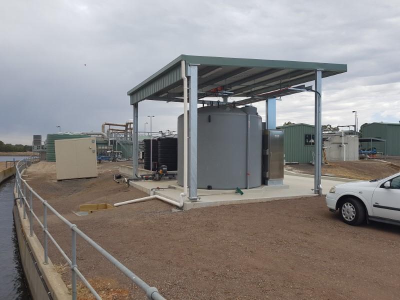 Bendigo WRP ACH System - Shelter over Self Bunded Storage Tank
