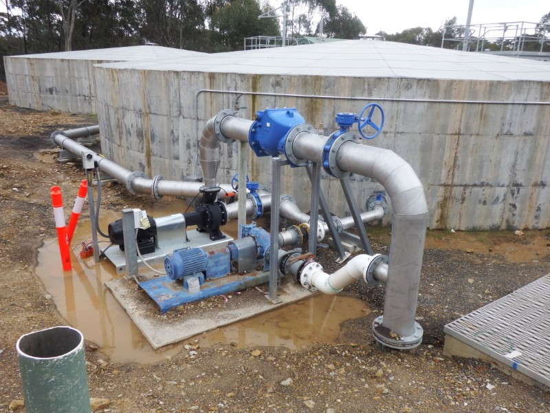 Laanecoorie WTP Backwash Pumps and Pipework from Clearwater Storage