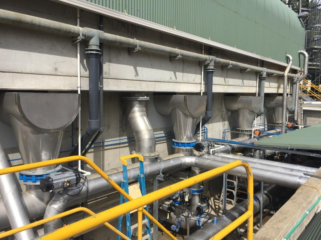 Cobram WTP - Filter to Waste Pipework exiting the DAFF